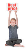 Boy holding best price inscription Stock Image
