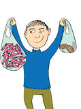 Boy holding big candy bag and little potatoes bag Royalty Free Stock Image