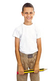 Boy holding big pencil Royalty Free Stock Photo