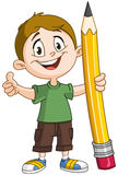 Boy holding big pencil Royalty Free Stock Image