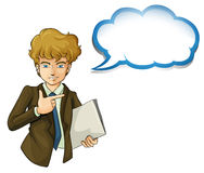 A boy holding a binder with an empty callout Stock Image