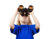Boy holding binoculars Stock Photos