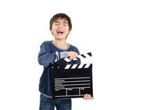 Boy holding black clapperboard Stock Photography