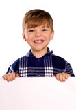 Boy holding a blank Stock Images