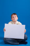 Boy holding a blank Stock Image