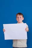 Boy holding a blank Stock Photography