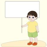 Boy holding blank banner Stock Photography