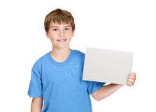 Boy holding a blank board for texting Stock Photo