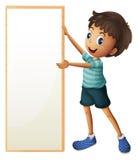A boy holding a blank framed board stock illustration