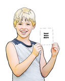 Boy holding blank paper. A boy holding a card ready for your text Royalty Free Stock Image