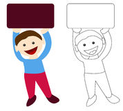 Boy holding blank sign. Smiling boy holding a blank sign with copy space for your text or image Royalty Free Stock Images