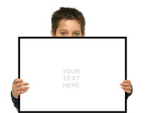 Boy holding a blank sign Stock Photos
