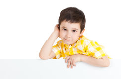 Boy holding a blank sign Royalty Free Stock Images