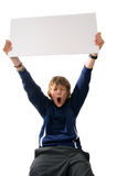 Boy holding blank white sign. On white background Stock Photography