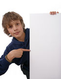 Boy holding blank white sign Stock Photos