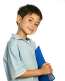 Boy holding a blue folder Royalty Free Stock Image