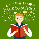 Boy holding a book. Back to school illustration. Cartoon schoolboy holding a book. Including back to school title. Education illustration for your design Royalty Free Stock Image