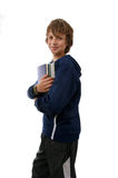 Boy holding Books. On white background Royalty Free Stock Photography