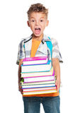 Boy holding books. Boy with backpack holding books, isolated on white background Stock Image