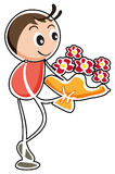 A boy holding a bouquet of flowers. Illustration of a boy holding a bouquet of flowers on a white background Stock Photo
