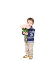Boy holding a bouquet Royalty Free Stock Photos