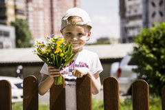 Boy holding a bouquet of wild flowers Stock Photo