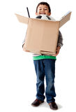 Boy holding a box Royalty Free Stock Image