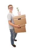 Boy holding a box Stock Photo