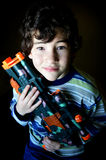 Boy Holding Broken Toy Gun Stock Images