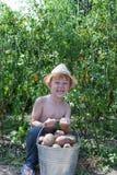 Boy holding bucket of potatoes Stock Photo