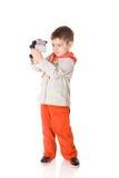 Boy holding camera royalty free stock image