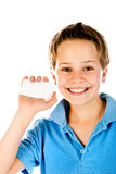 Boy holding card Stock Photo