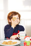 Boy holding Chocolate Chip Cookie Royalty Free Stock Photography