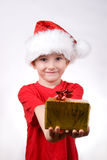 Boy holding a christmas gift Stock Photo