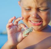 Boy holding crab Royalty Free Stock Photos