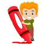Boy holding a Crayon. Vector illustration of a Boy holding a Crayon royalty free illustration