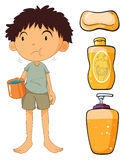 Boy holding cup and other objects Stock Image