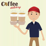 Boy holding cups of coffee for delivery Stock Photo