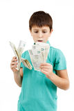 Boy holding czech crown banknotes Stock Image