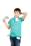 Boy holding czech crown banknotes Stock Images
