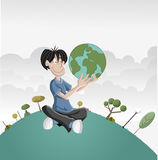 Boy holding earth globe Royalty Free Stock Image