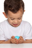 Boy Holding Egg Royalty Free Stock Photo