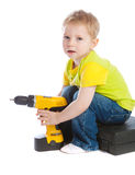 Boy holding electric screwdriver Stock Photography