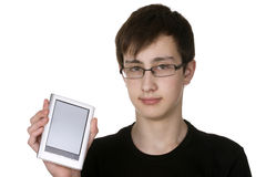 Boy holding electronic book Stock Image
