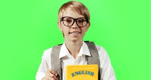 Boy holding English book chromakey. Schoolboy in eyewear holding english textbook, standing on chromakey background, template stock footage