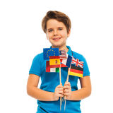 Boy holding flag of USA and European nations Stock Images