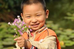 Boy holding flowers Stock Image