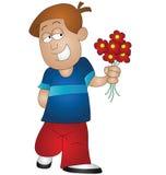 Boy holding flowers. Cartoon boy holding flowers isolated on white background Stock Image