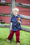 Boy holding flowers Royalty Free Stock Photography