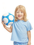 Boy holding football Stock Photo
